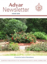 Adyar Newsletter Aug 2008 Cover Image